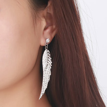 Vnox Long Wing Drop Earrings for Women Luxury Full Crystal Gold / Silver Plated(China (Mainland))