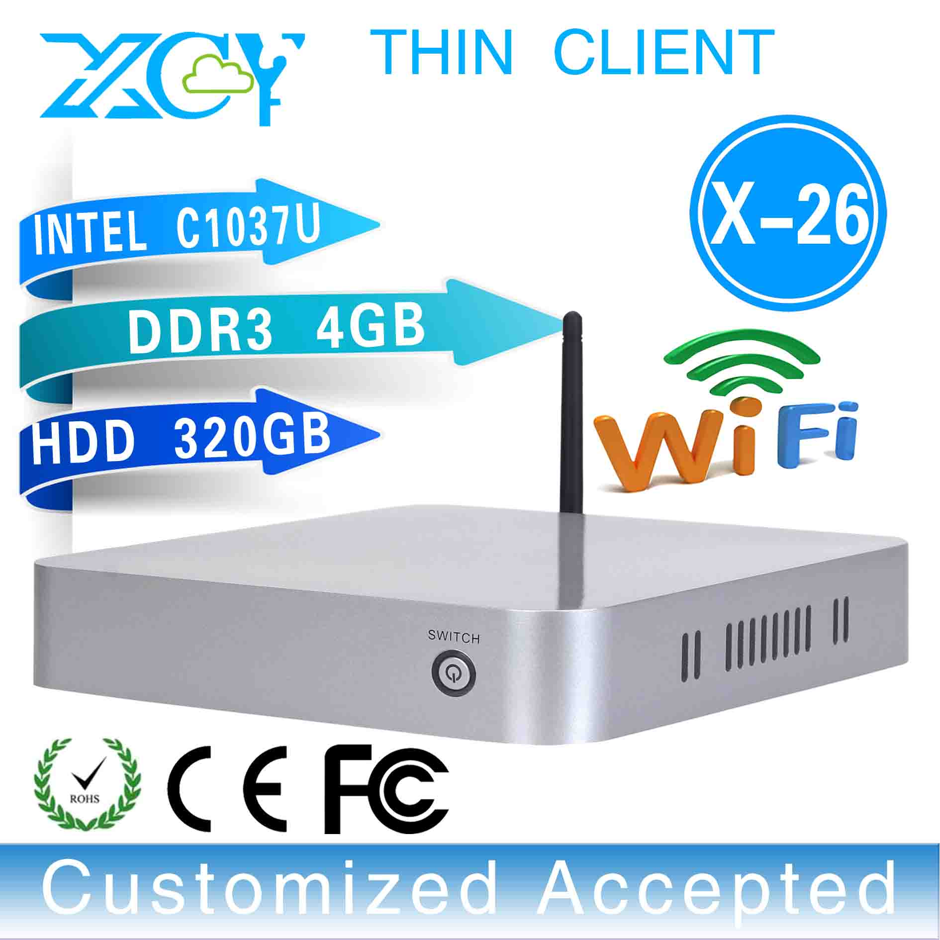 Low price!X-26,windows 7 thin client with 32 bit factory desktop computer wireless thin client support win 7 XP system(China (Mainland))
