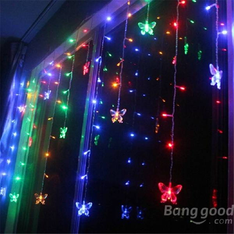 2015 Newest LED Butterfly String Lights Christmas Wedding Curtain Lamps 110V/220V(China (Mainland))