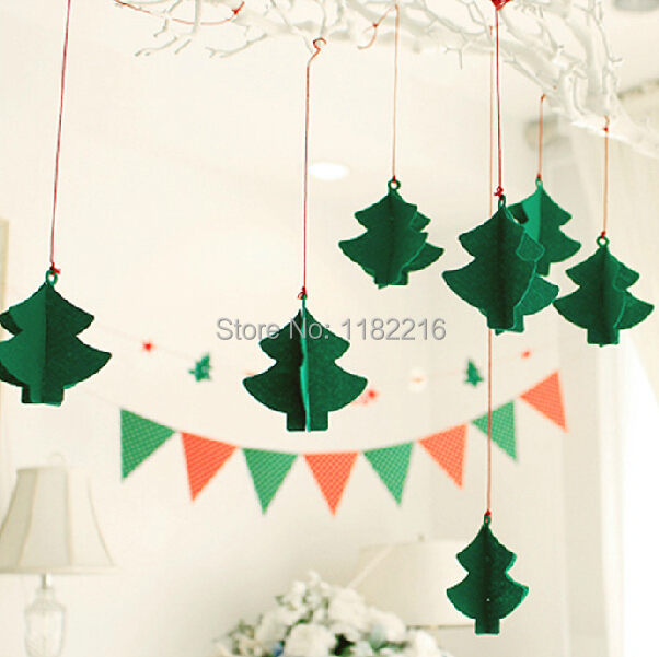 1 Set Lovely Pine Tree stereo DIY Felt ornaments party supplies children room nursery Decoration Birthday Christmas Garland(China (Mainland))