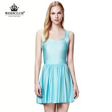 WISHCLUB 2015 hot sale big yards vest dress lady summer sleeveless dress tank V-neck backless sexy nightclub women vestidos