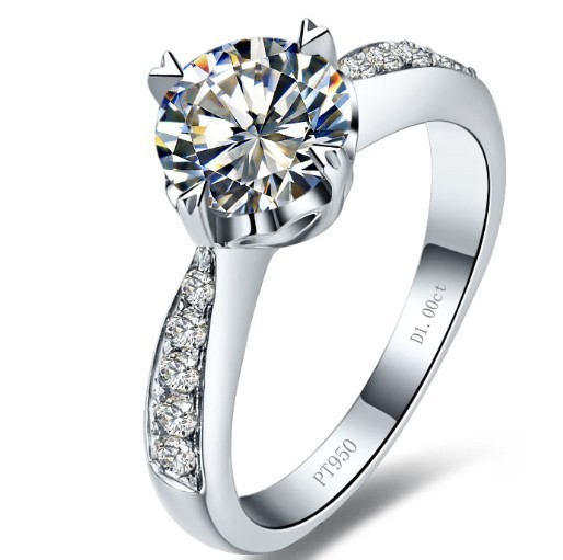 Porcelain Heart Symbol Real Solid 14K Gold Customize Jewelry 1CT Synthetic Diamond Engagement Ring BrideJewellery White Gold 14K(China (Mainland))