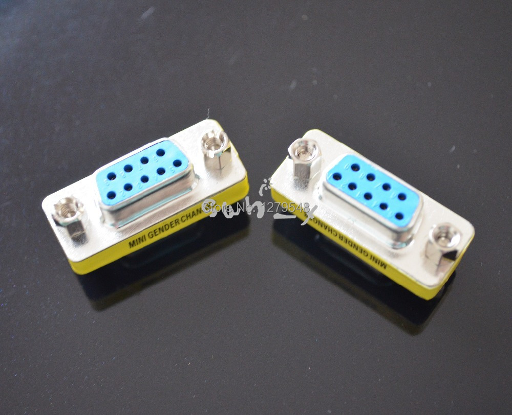 RS232 DB9 Female to Female MINI F/F Gender Changer Adapter COM connectors(China (Mainland))