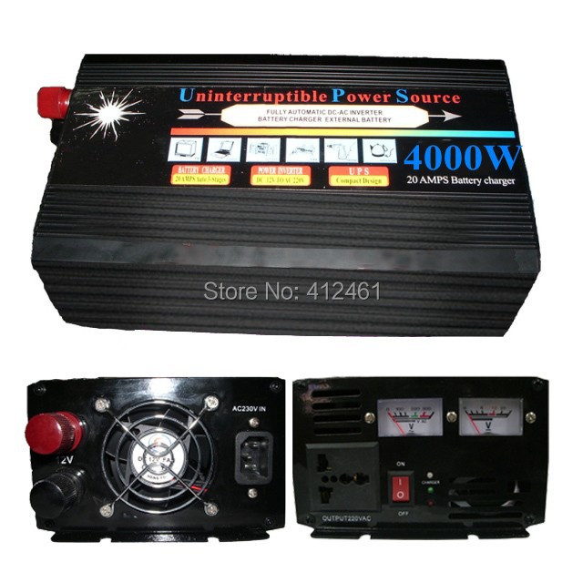 4000W 8000W(peak) 4000 8000 WATT 12v to 220v Power Inverter+Charger & UPS,Quiet and Fast Charge(China (Mainland))