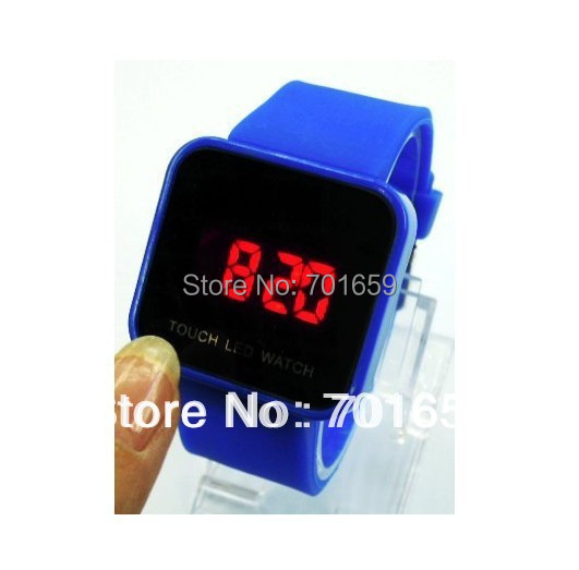 50pcs/lot fashion silicone touch led watch,silicone band touch face to adjust time,different colors, freeshipping wholesale(China (Mainland))