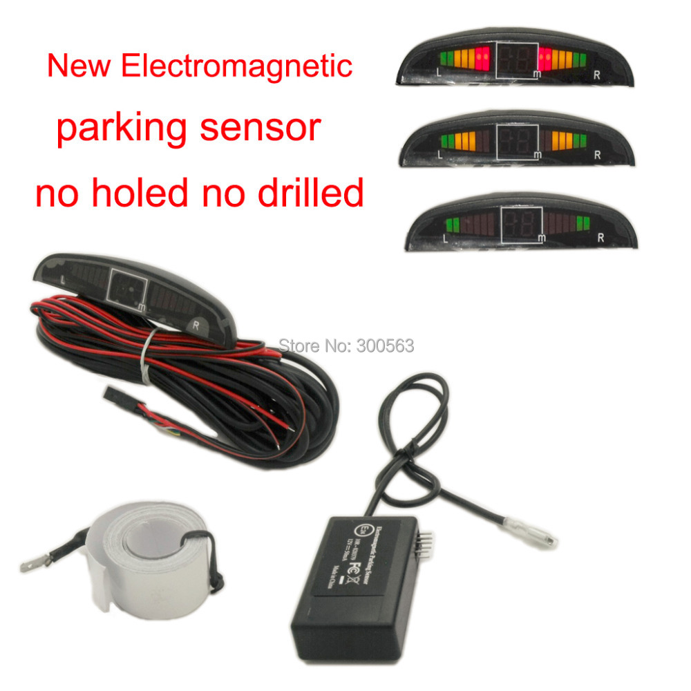 2014 new Free shipping Electromagnetic parking sensor with 3 colors LED diaplay and buzzer alarm no