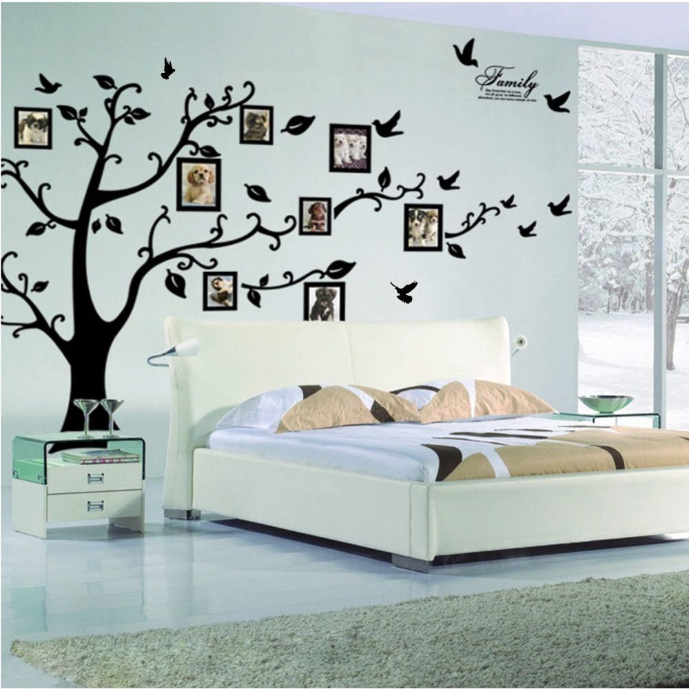Hot Sale Family Picture Photo Frame Tree Wall Art Stickers Vinyl Decals Home Decor Sticker(China (Mainland))