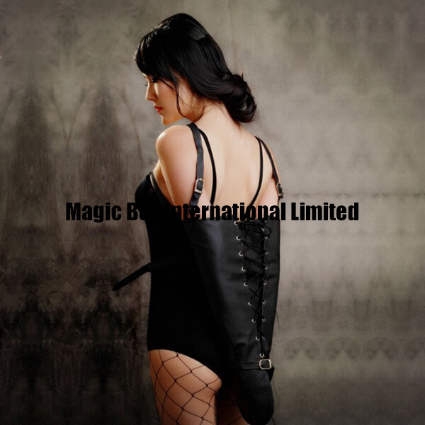 Leather Arm Binder Bondage Sleeve, Arm Lockable Glove Sleeves, Laced Black Unisex Armbinder Harness Restraints, Sex Toys<br><br>Aliexpress