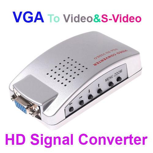 PC VGA to TV Video AV Signal Converter video Switch Box , Free / Drop Shipping