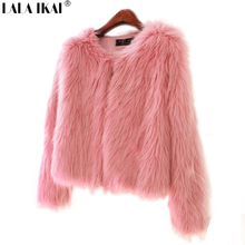 Girl Faux Fur Coat Pink Fur Outerwear Lady Winter Long Sleeve Fur Jacket Furry Fur Top SWQ0047 -5(China (Mainland))