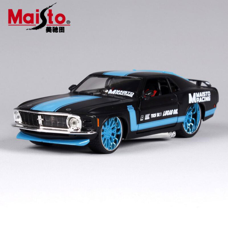 1:24 Scale children 1970 ford mustang boss 302 metal diecast race vintage style collectible model miniatures cars toys for kids(China (Mainland))