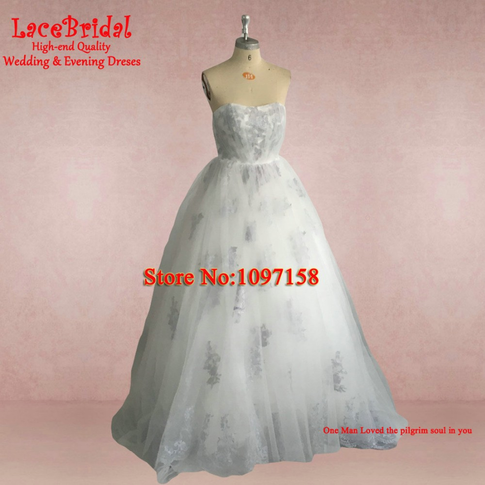 Real Romantic Ball Gown Ivory and Grey Applique Lace Wedding Dresses 2017 vestidos de noiva Puffy Bridal Gowns Custom Made BLW71 11
