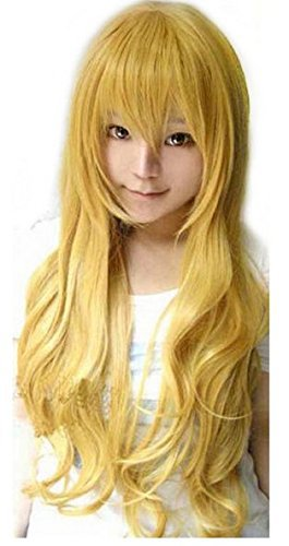 32'' 80cm Long Yellow Sexy Anime Wigs Cosplay Fashion Long Wavy Synthetic Hair Wigs With Bangs Halloween Party Pelucas Peruk