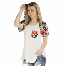 Casual Floral Print Pocket T-Shirt Women O-Neck 2017 Fashion Design Summer Stitching Womens T Shirt Tops Tee Femme J4 - Shebe Store store