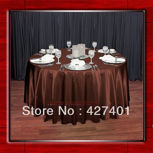 "Hot Sale Copper Shaped Poly Satin Table Cloth Wedding Meeting Party Round Tablecloths/Table Linen (128"" Round )(China (Mainland))"