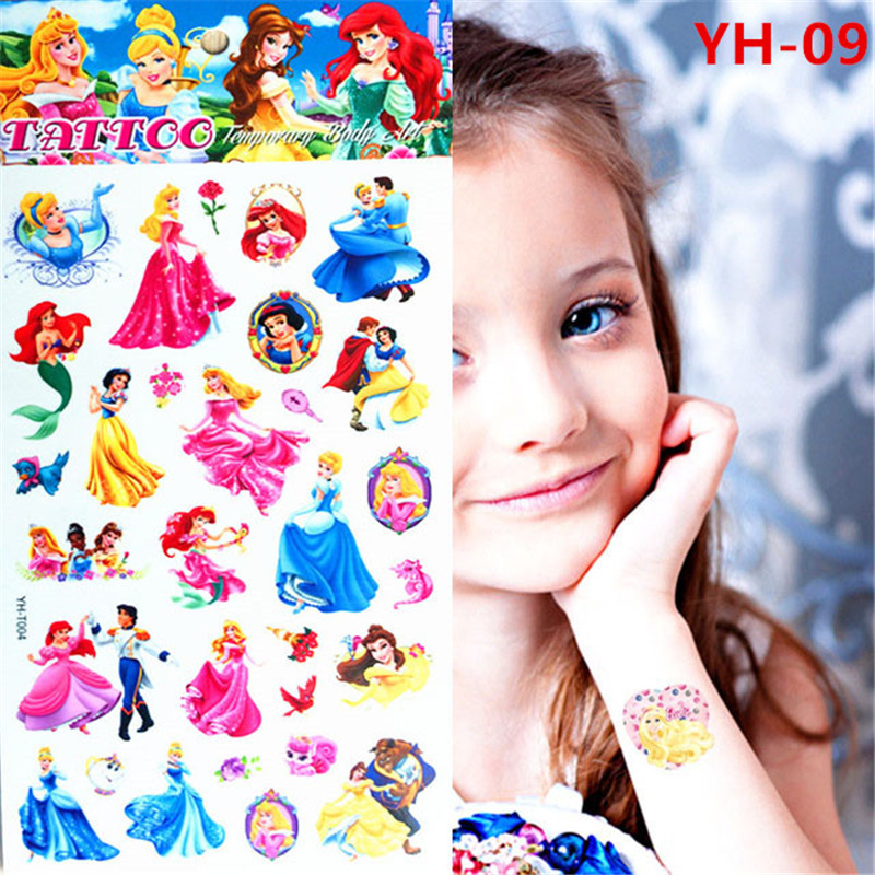 Princess Cinderella Girl Story Children Waterproof Temporary Tattoo Stickers Kids Toys fairy tales Tattoos Body Arm
