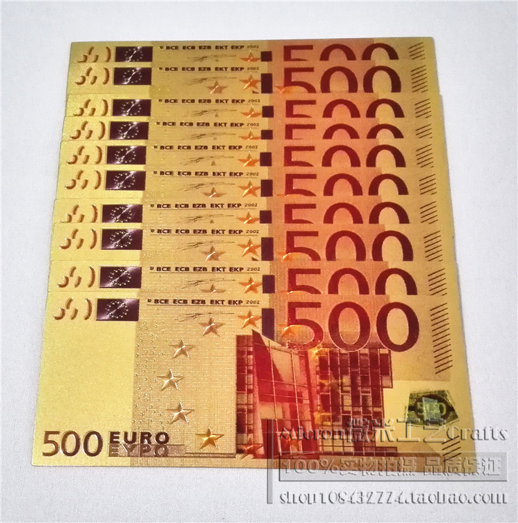 500 denomination banknotes European currency Euro gold colored coins dollars in foreign banknotes coin collections(China (Mainland))