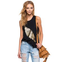 2016 Cotton Camisole EuropeanWoman Street Cami Tops Fashion Gilt Feather Pattern Print Vest Slim Female Casual Crop Tank New3252(China (Mainland))