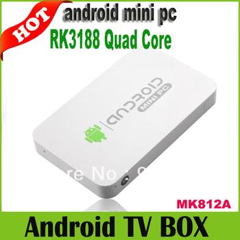 MK812A(mk802iv)Bluetooth RK3188 Quad Core Mini PC Android TV Box 1GB DDR3 8GB Stick Dongle HDMI WiFi XBMC DLNA