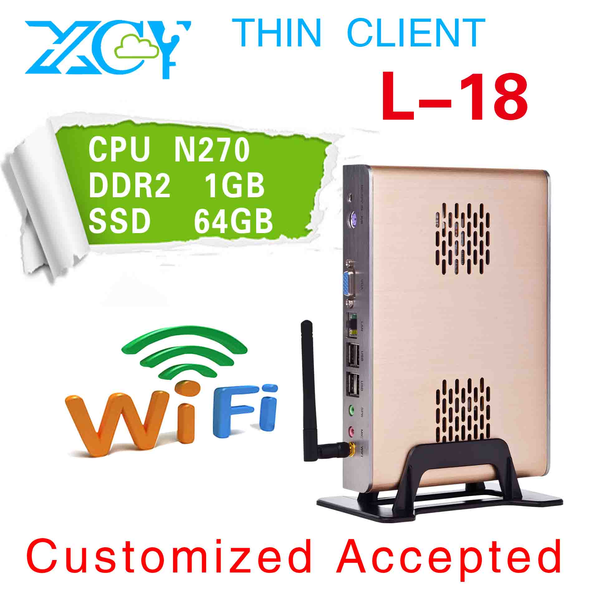 Low heat, low price!!! atom N270 latop mini pc, small fanless pc, XCY L-18 arm pc(China (Mainland))