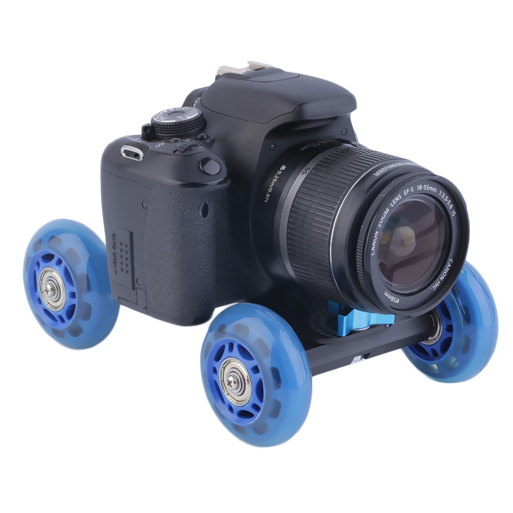 Hot! Stock Offer Blue 4-wheel Mute Rail Track Drift Car Skater Slider For DSLR Video Camera New Sale(China (Mainland))