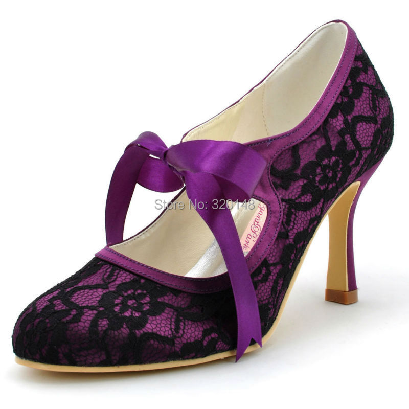 Woman Black High Heel Closed Toe Mary Jane Ribbon Tie Lace Satin Bride  Bridesmaid Evening Prom