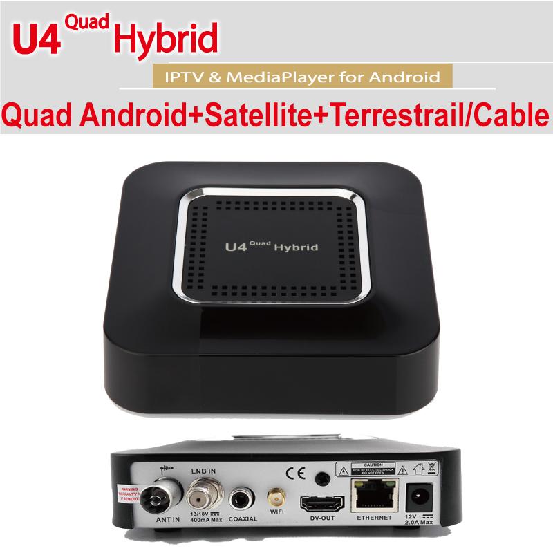 U4 Quad Hybrid Android 4.4 Set-top Box Supports DVB-S2, DVB-T2/T/C & ATSC Tuners Full Load KODI15.2 TVHeadend internet sharing(China (Mainland))