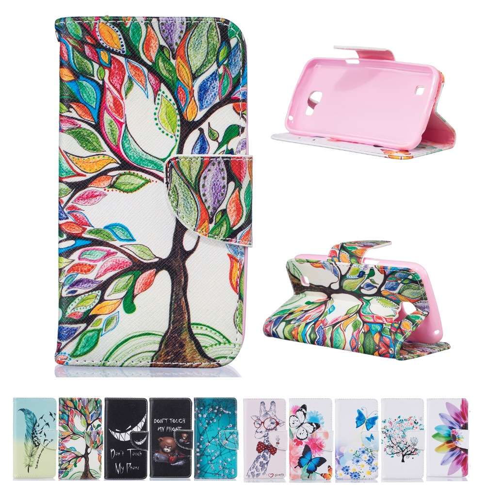 "fashion pattern carton Case Wallet Style PU Leather Case For LG K4 Lte K120e K130e 4.5"" K 4 with Stand Function and Card Holder(China (Mainland))"