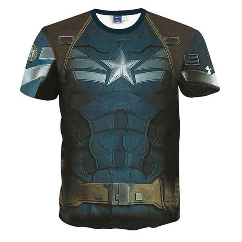 Slim Fit Armour Marvel Captain America/Superman Print Novelty 3D Camisetas Compression T shirt Men Thermal Tees Fitness Tights(China (Mainland))