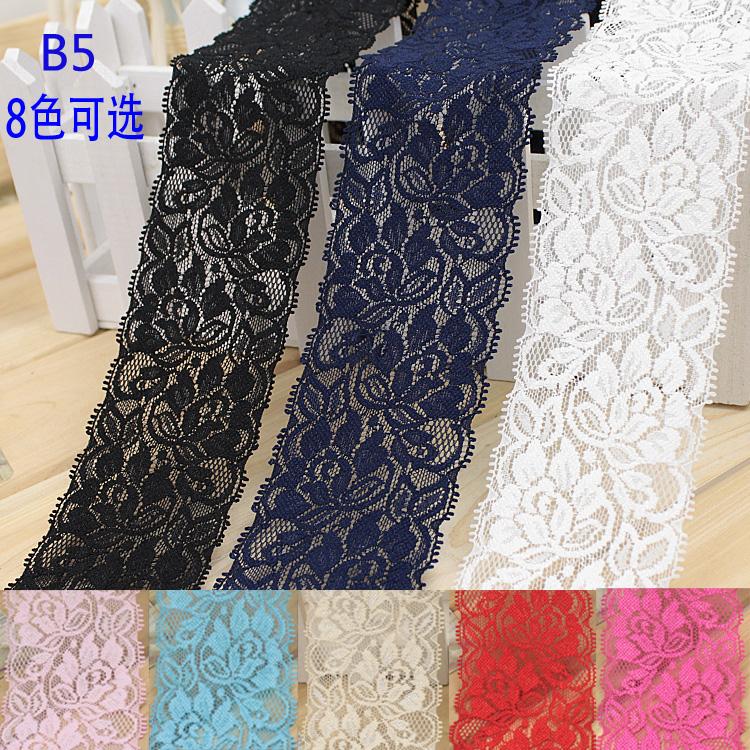 6.5cm multicolors nylon spandex lace,elastic lace trim,stretch lace trimming encaje elastico for sewing(China (Mainland))