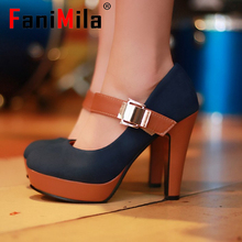 CooLcept free shipping thick high heel shoes buckle women sexy fashion lady platform pumps P2583 hot sale EUR size 34-39