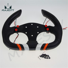 Racing Style 320mm D Shape PU Alloy Black Sport Racing Steering Wheel(China (Mainland))