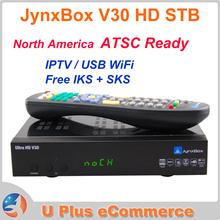 2PCS JynxBox V30 Full HD Digital Satellite Receiver Twin Tuner JB200 ATSC Module IKS North America IPTV