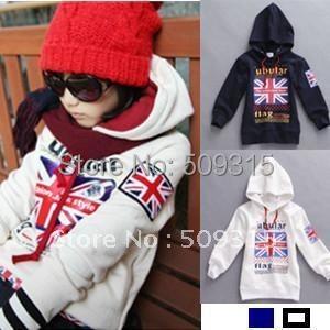 child sweatshirt m word flag fashionable casual outerwear kids hoodies fleece sweatshirts 4pcs/lot free shipping