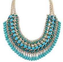 High quality Vintage Ethnic Bohemian Exaggerated Weave Drop-water Pendant   Necklace for Women Fashion Jewelry, 756