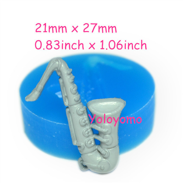 Free shipping J075YL Saxophone Silicone Rubber Flexible Food Safe Mold 27mm - Chocolate Bakery Air Dry Polymer Clay Molds(China (Mainland))