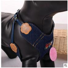 2016 High Quality Brand Pet dog accessories dog traction rope denim chest suspenders small dog chain Denim mini harness + leash