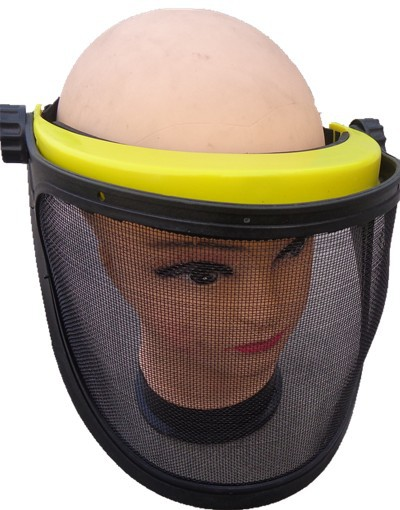 Rust metal net mask mowing the lawn garden maintenance safety mask black against the insects flying full face safety masks
