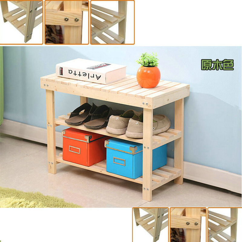 Фотография 50CM Nature Color Pine Solid Wood Shoes Rack Shelf Storage Shoe Changing Bench Green Healthy