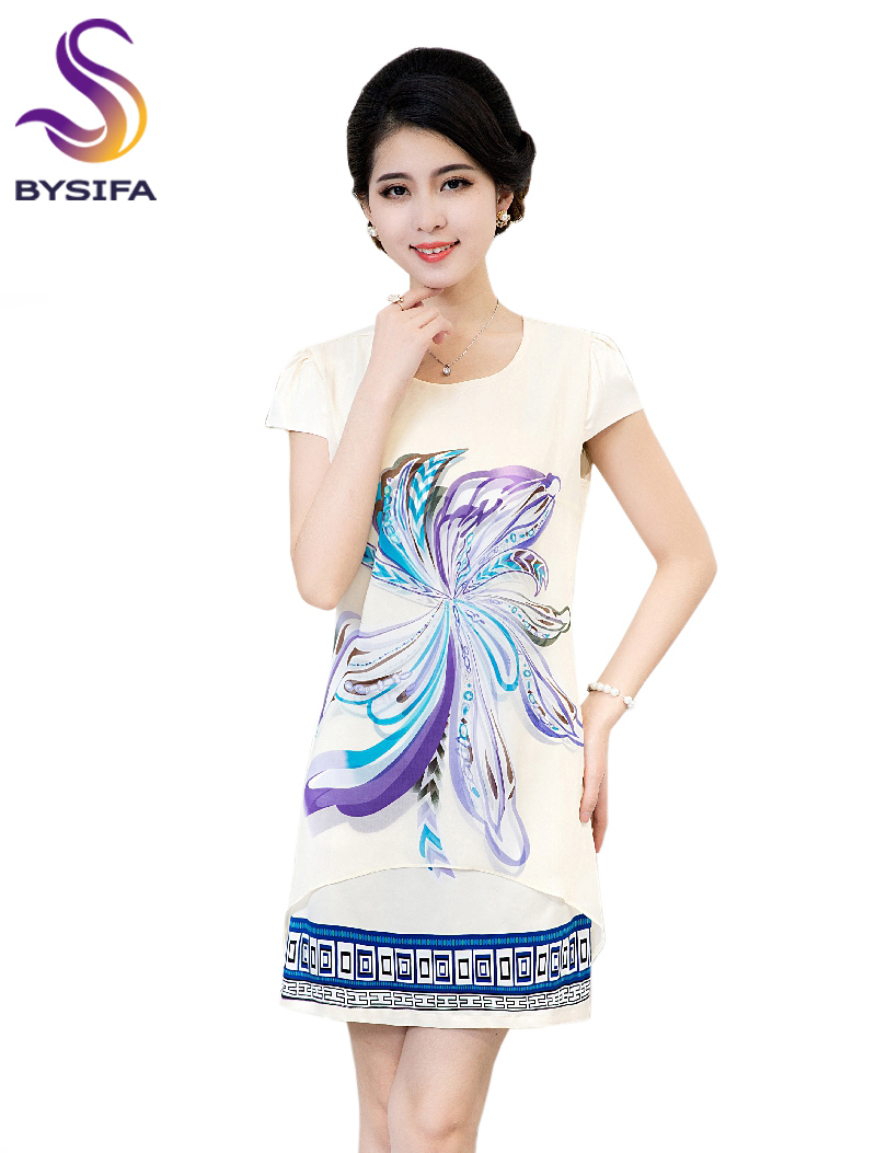Summer Silk Dress Hot Sale Women Apparel Beige White Butterfly Dresses New Design Round Collar Min Dress For Ladies L,XL,2XL,3XL(China (Mainland))