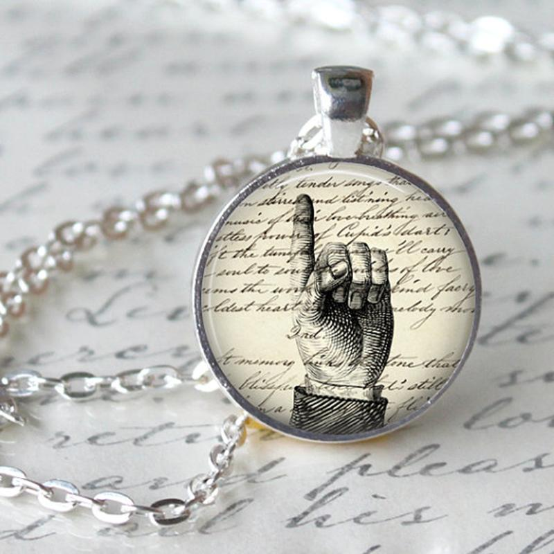 1pcs/lot Hand Writing Logo Pendant Necklace Teacher Necklace Vintage Hand Art Image Antique writing Handmade Round Pendant(China (Mainland))