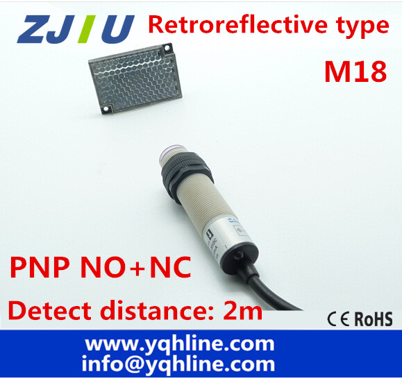 M18 Retroreflective type PNP NO+NC DC 4 wires photoelectric switch Infrared photocell sensor with mirror reflector, distance 2m(China (Mainland))