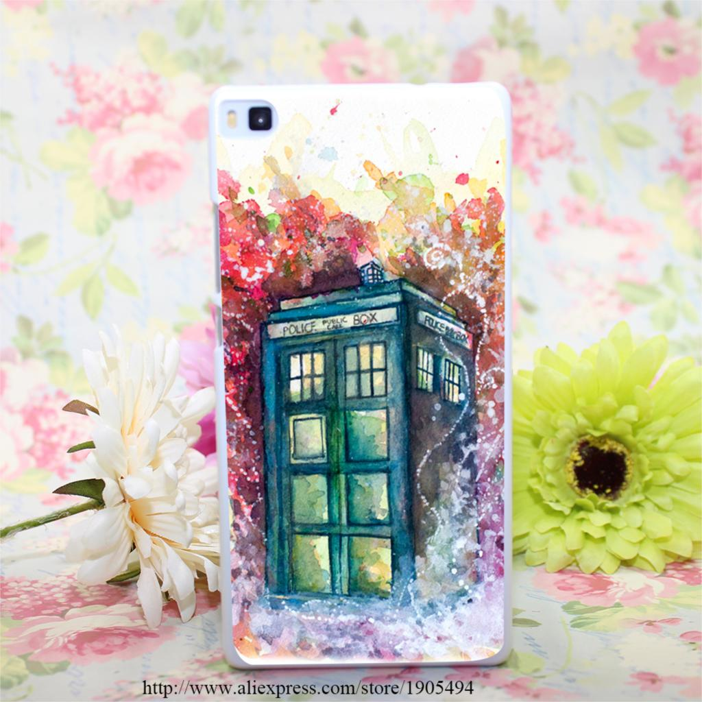 399HQA doctor who tardis Hard White Painted Case Cover for Huawei Ascend P6 P7 P8 P8 Lite Colorful Protective Case(China (Mainland))