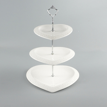 Fashion Three-tier Fruit Plate Bone china White Trim Dishes And Plates Sets Kitchen Ceramic Accessories Fruit Tray