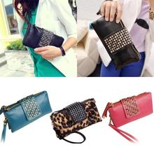 Women Rivet Zipper Wallet Holder Card Coin Clutch Purse Wristlet Evening Bag 2JYL