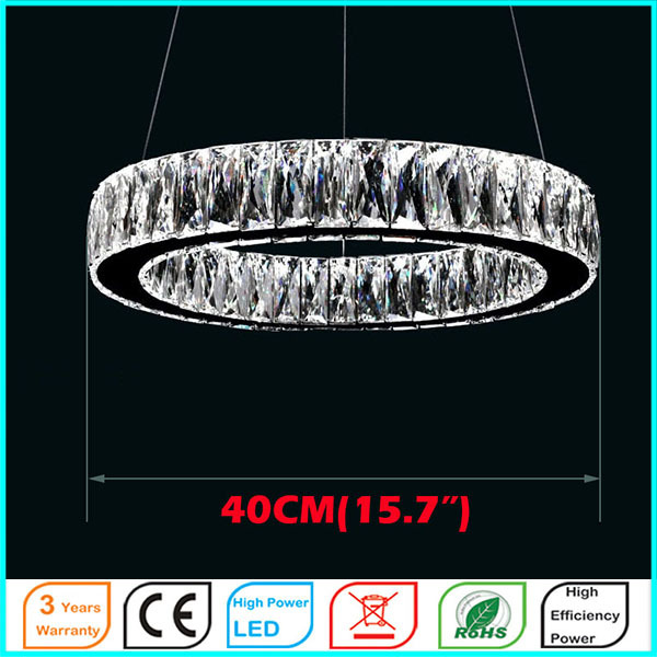 LED Crystal Pendant Light D40CM Ceiling Lamps Lighting Fixtures For Hotel Mall AC110 To 240V Stainless Steel Clear K9 Crystal<br><br>Aliexpress