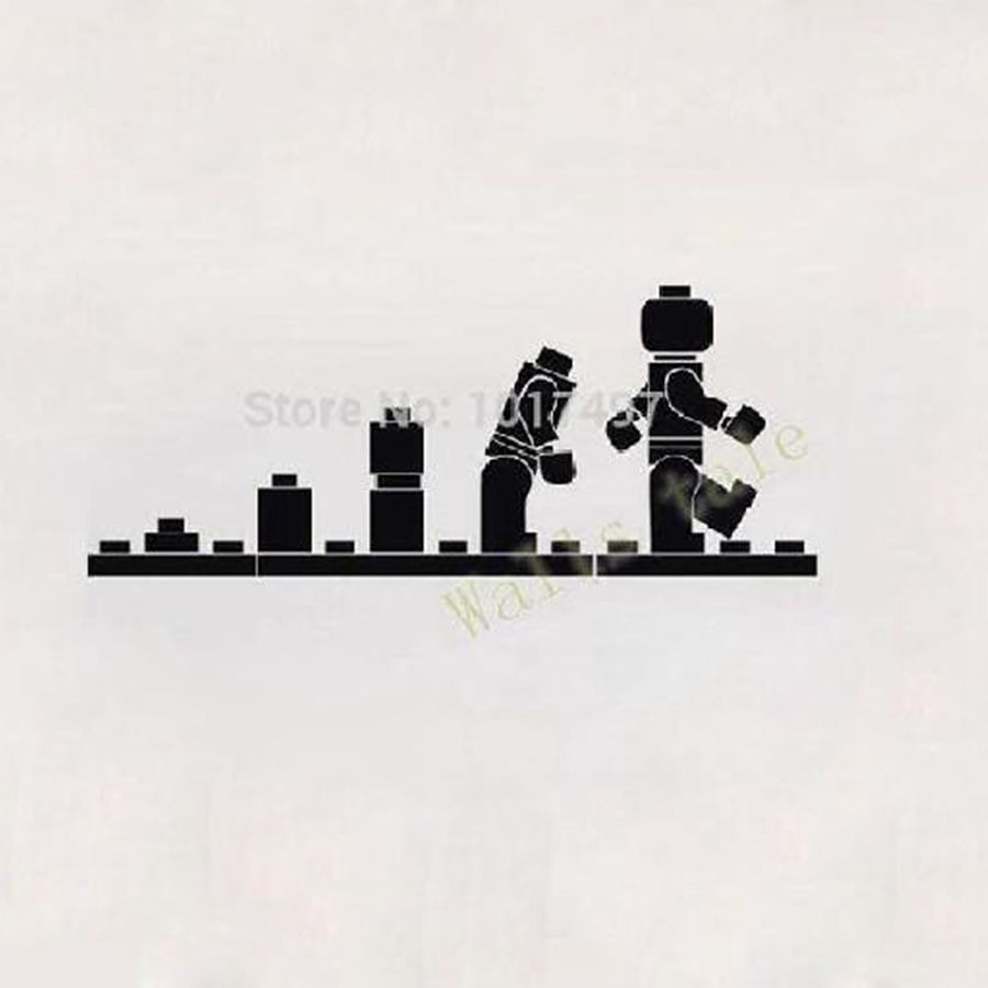 LEGO EVOLUTION Decal WALL STICKER ,Lego Wall Art Vinyl Stencil Kids Room Cartoon Decor ,K3315 - walls tale store