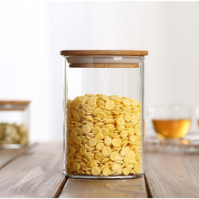 M Size Bamboo Lid Glass Jars for Food Storage Heat Resistant Container Flower Tea Tank Cylindrical Tightness Household Health(China (Mainland))