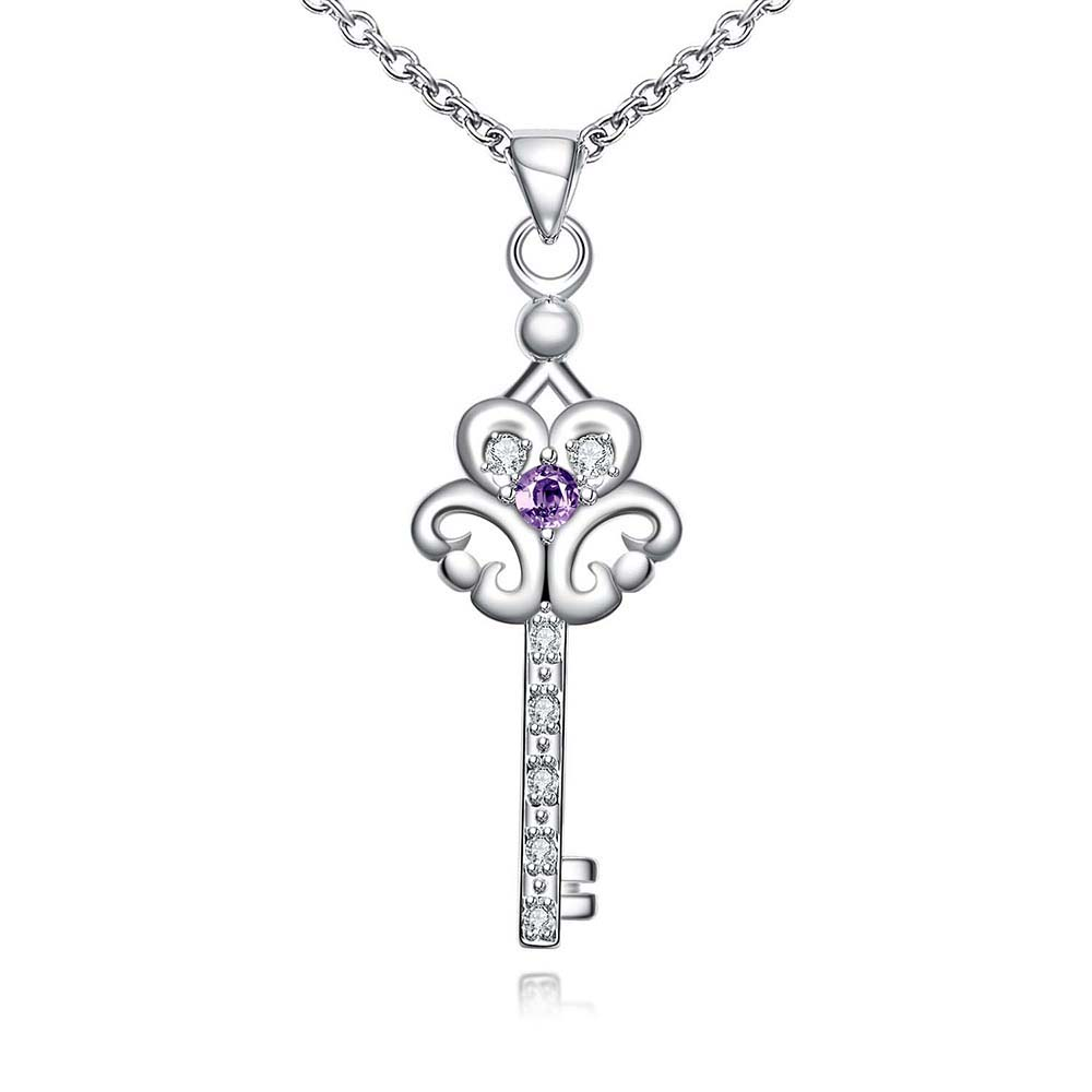 fashion silver flower key zircon pendants necklaces 925 sterling sivler women accessories natural stone jewelry necklaces SMT(China (Mainland))
