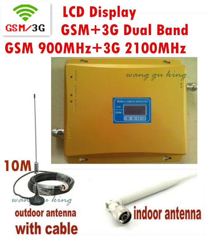 LCD Display !!! Mobile Phone Signal Booster GSM 900 Signal Repeater W-CDMA 3G 2100 Cell Phone Amplifier With Cable Antenna 1 set(China (Mainland))